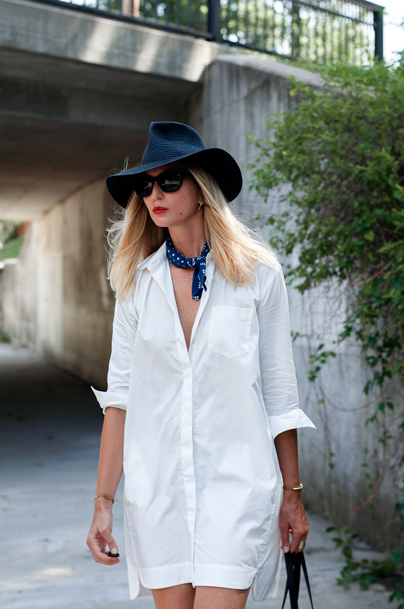 Madewell Courtyard Shirtdress and Mesa Straw Hat