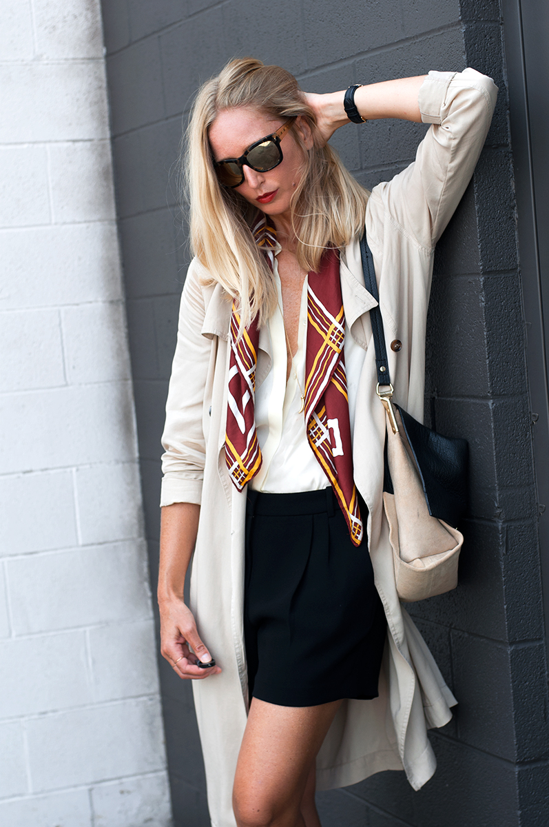 Forever 21 Draped Trench Coat with Vintage Scarf