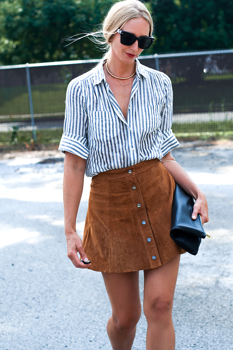 The Button Front Suede Skirt — FORAGE FASHION