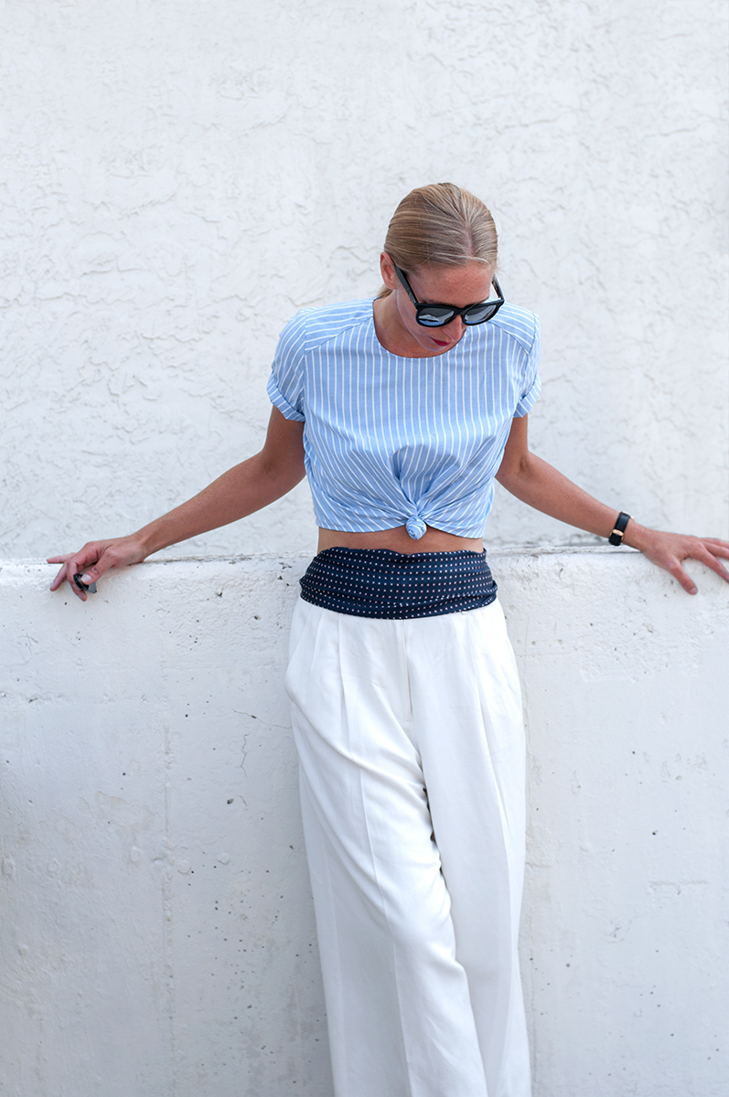 Forever 21 Knotted Striped Cropped Top