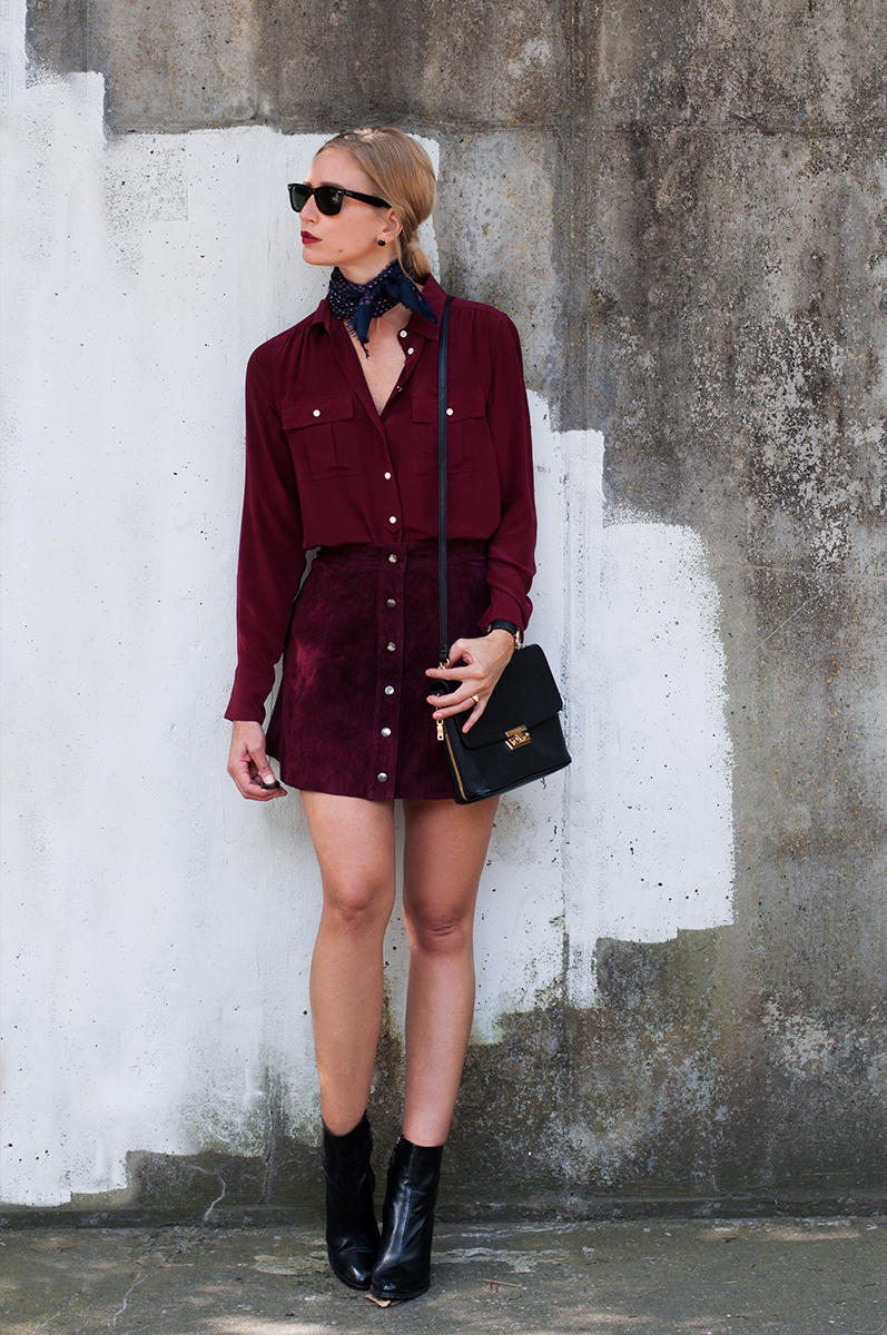 Forever 21 Button Suede Skirt in Aubergine