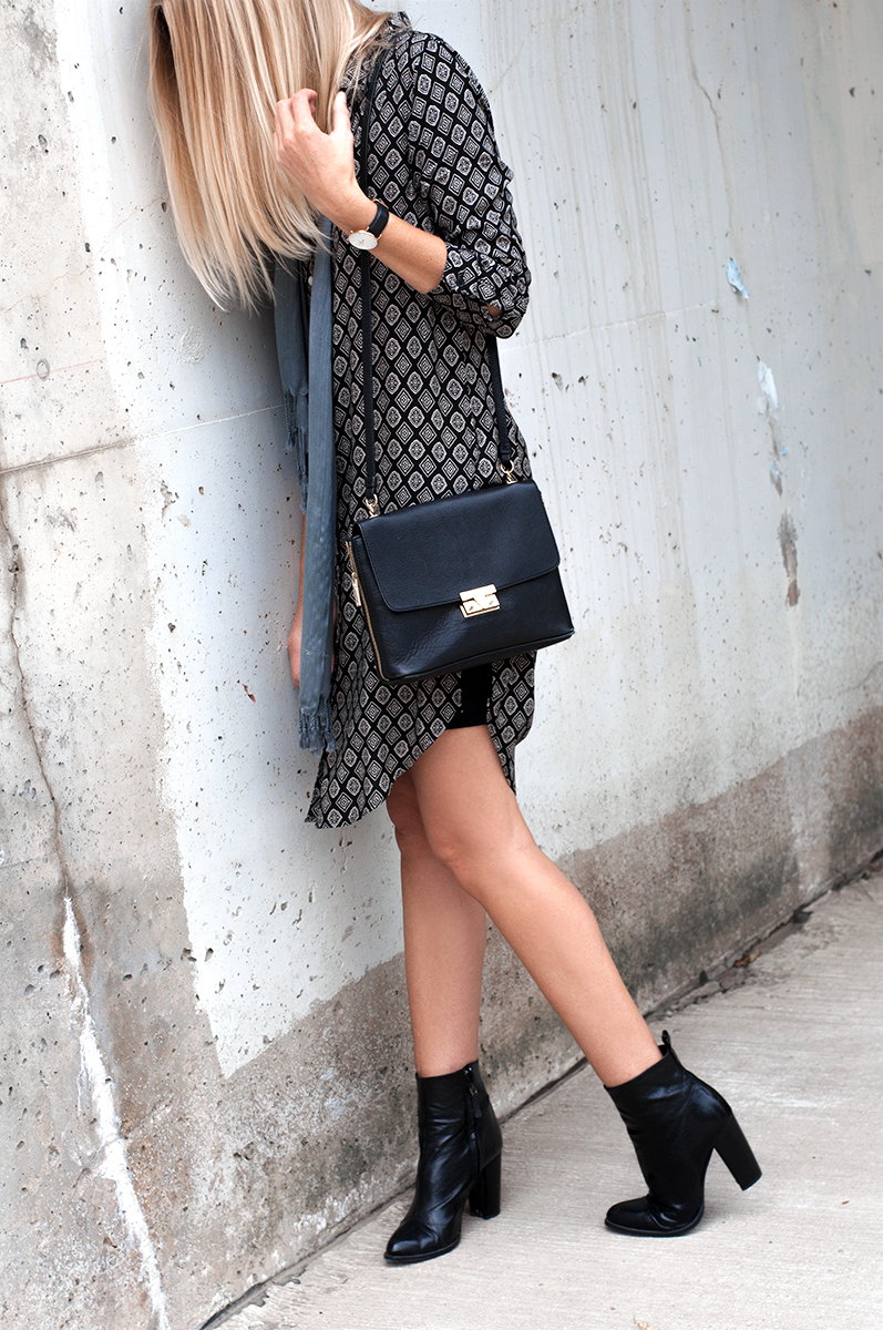 Black Leather Zara Ankle Boots with Block Heel