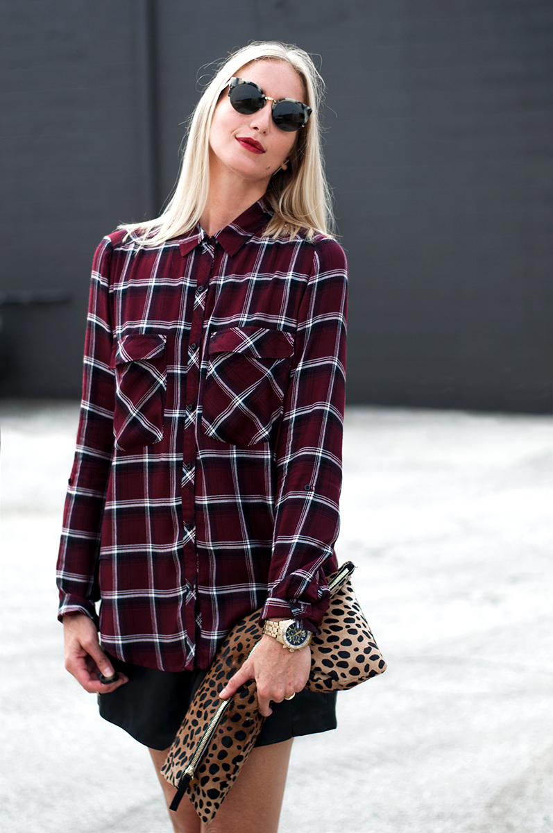 Forever 21 Plaid Pocket Shirt in Burgundy