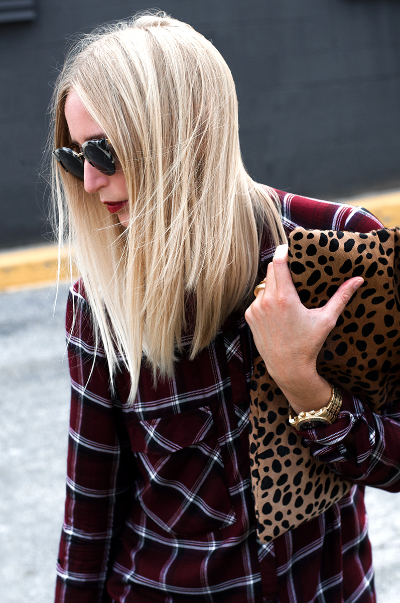 5cb2a3b6b0 90s Outfit Inspiration, Blogger Style Forever 21 Plaid Pocket Shirt in  Burgundy with Clare V Leopard Calf Hair Clutch ...