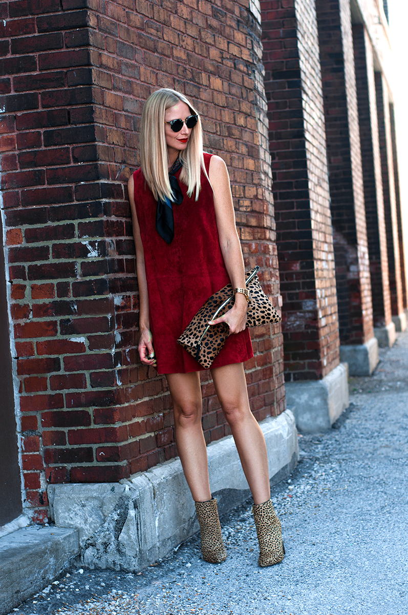 Zara Suede Dress in Dark Red