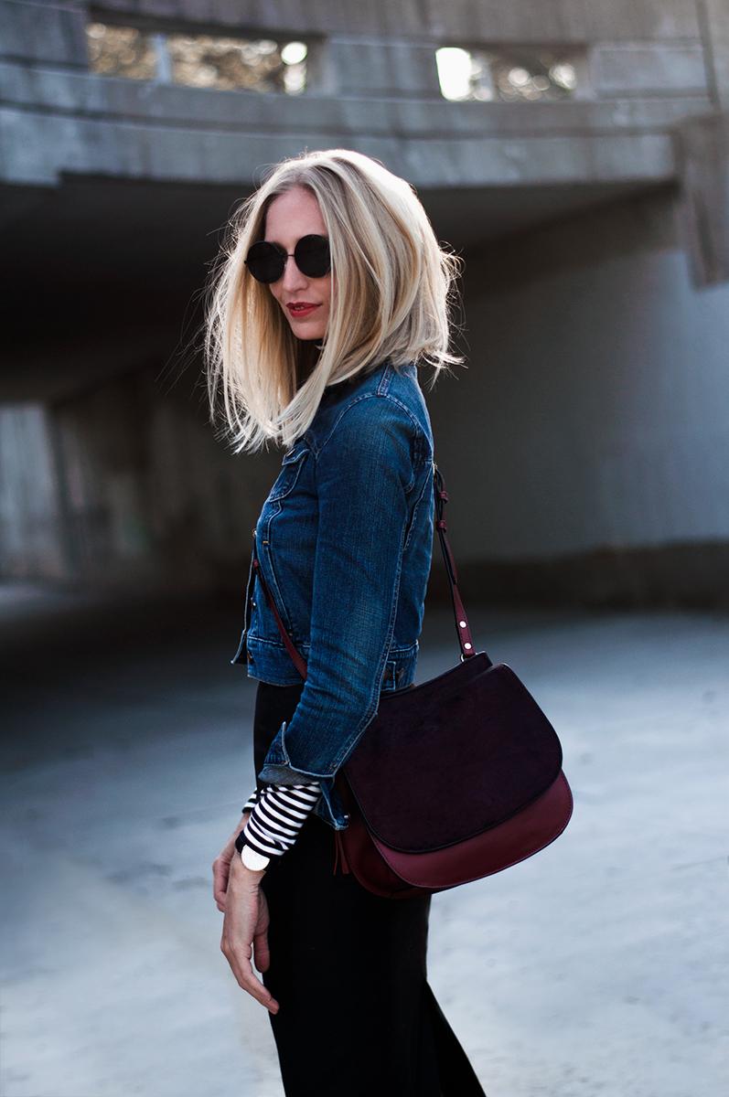 J Crew Leather Calf Hair Saddle Bag