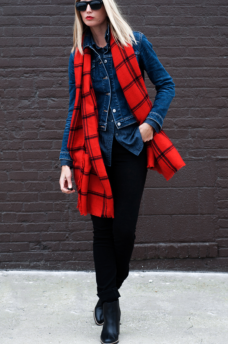 Zara Red Striped Check Scarf