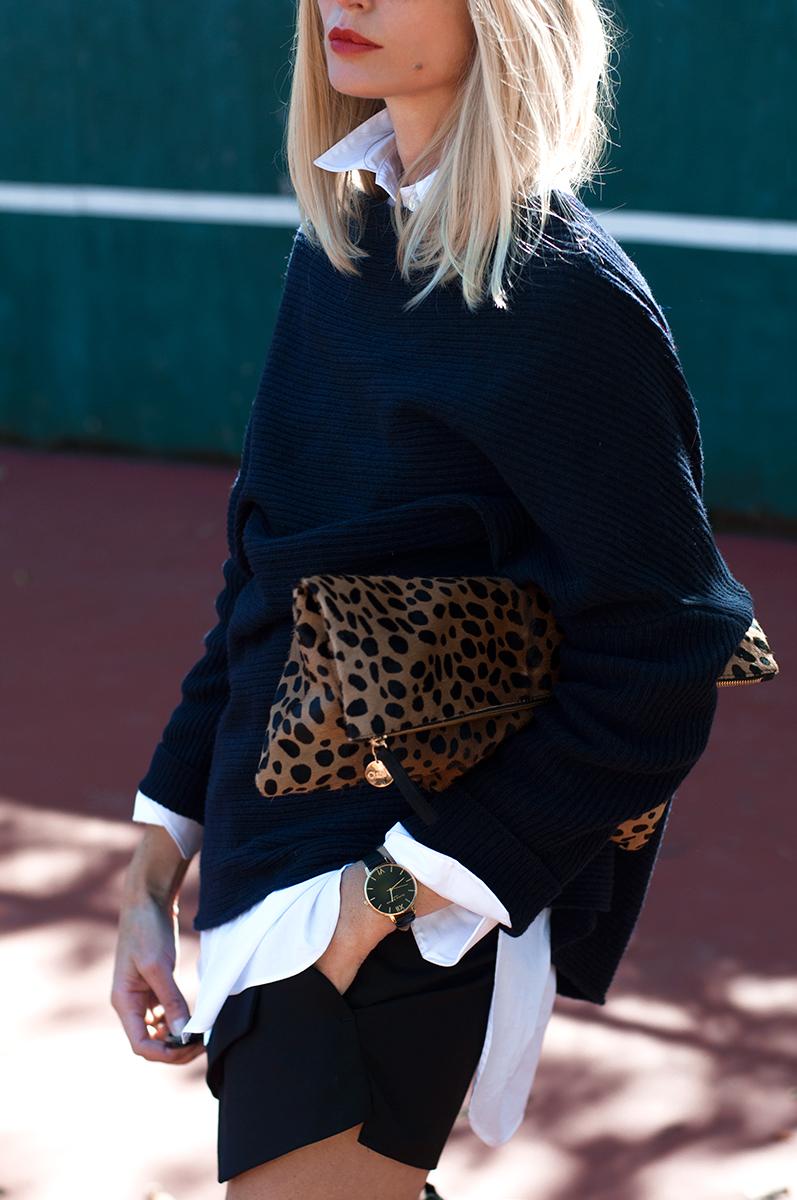 Clare V Leopard Calf Hair Supreme Clutch