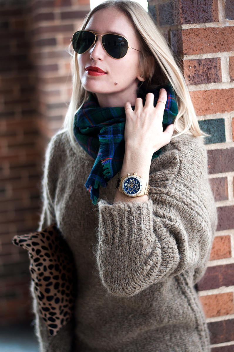 Ray Ban Aviators and Clare V. Leopard Clutch