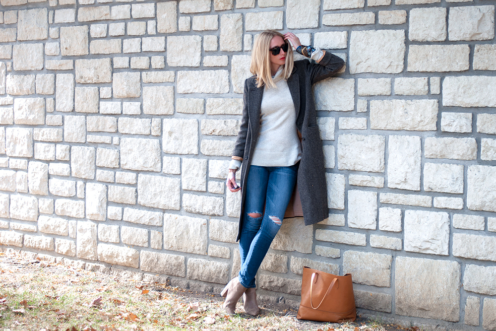 Masculine Coat Over J Crew Turtleneck and Joe's Jeans