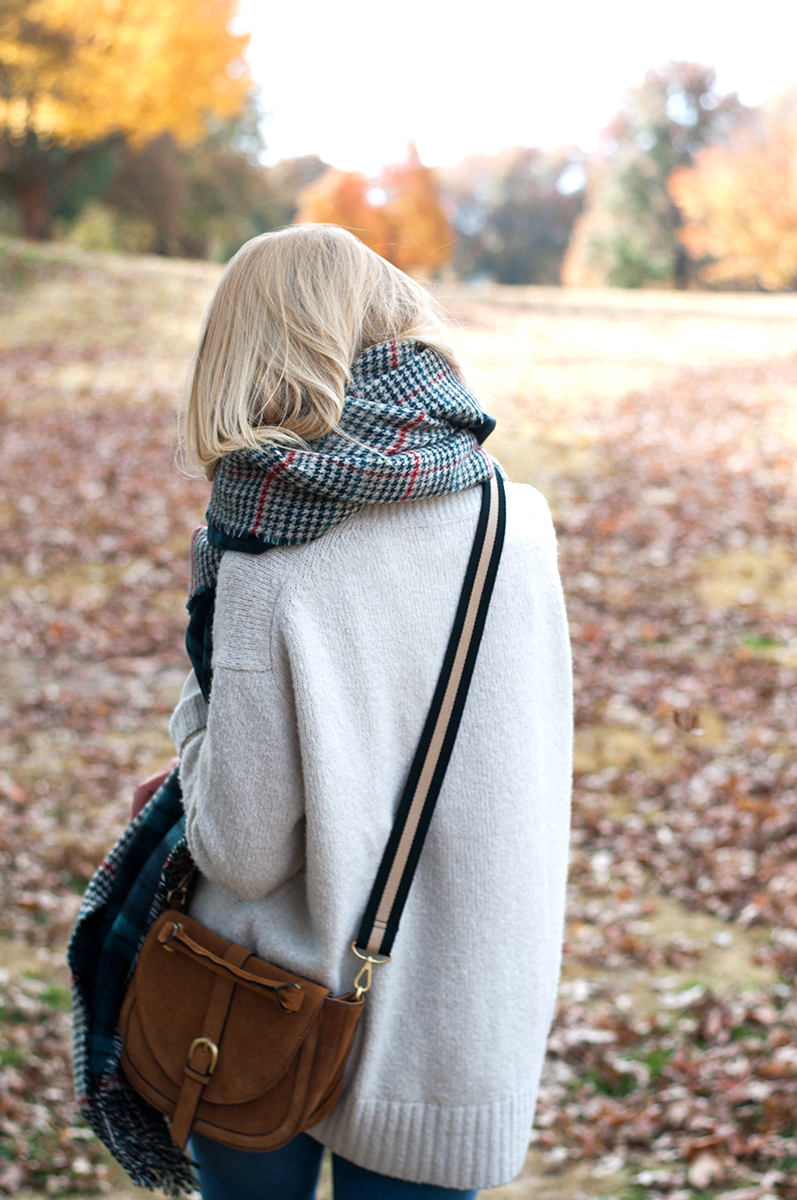 Zara Suede Saddle Bag and Oversized Sweater