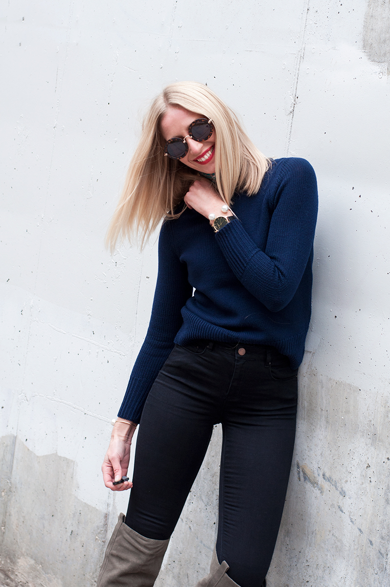 J Crew Wool Boat Neck Sweater in Navy Blue