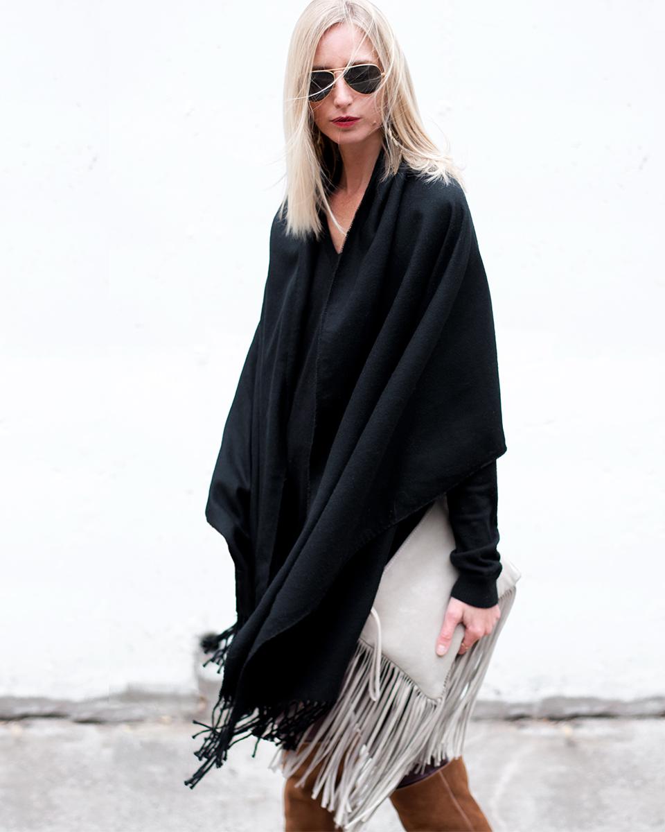 Black Fringe Poncho, Blogger Style 2015