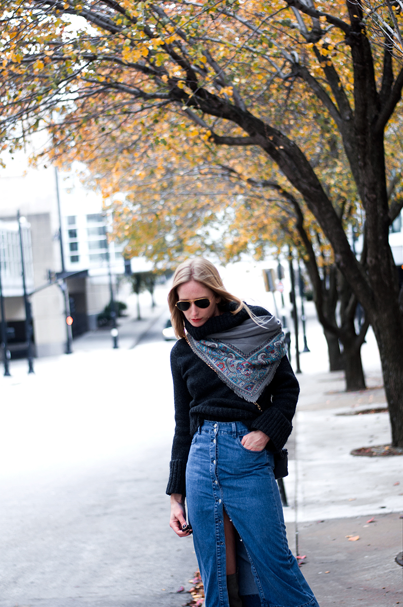 Denim Midi SKirt and Over the Knee Boots
