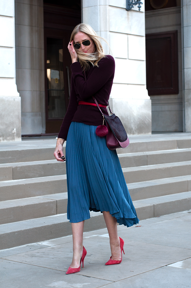 Banana Republic Pleated Blue Midi Skirt