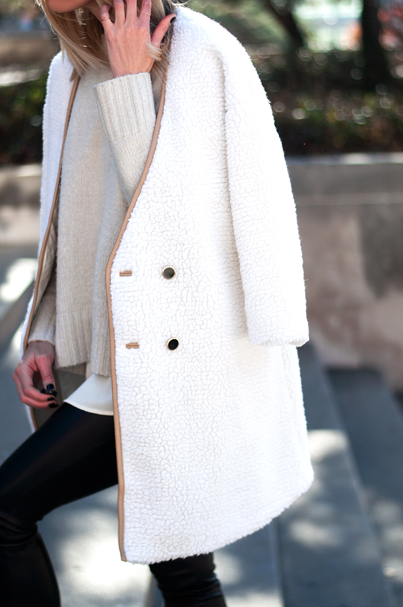 SheIn White Long Sleeve Faux Fur Coat