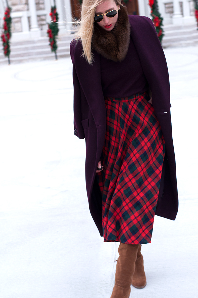VIntage Tartan Plaid Midi Skirt