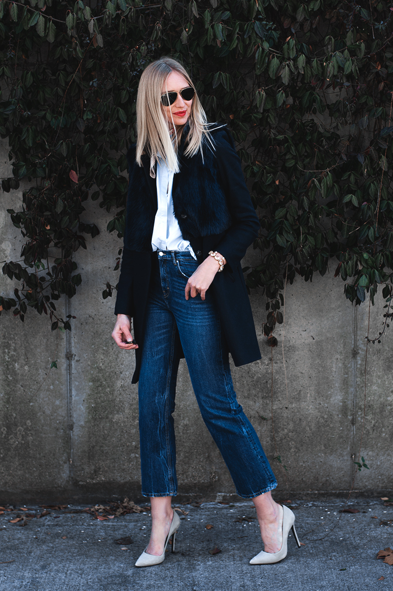Crop Flare Jeans with Topshop Longline Coat with Faux Fur Overlay
