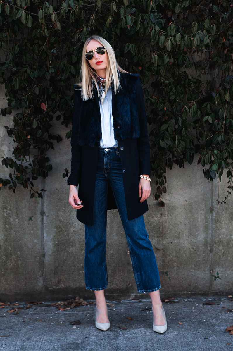 Crop Flare Jean with Topshop Longline Coat with Faux Fur Overlay