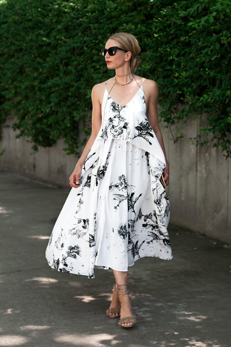 Asos Mono Floral Cami Strap Midi Dress