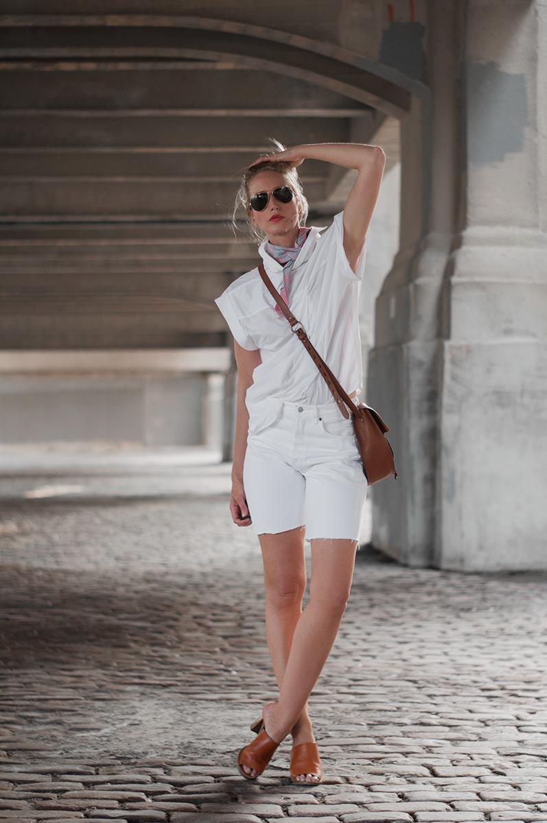 Levis White Bermuda Jean Shorts