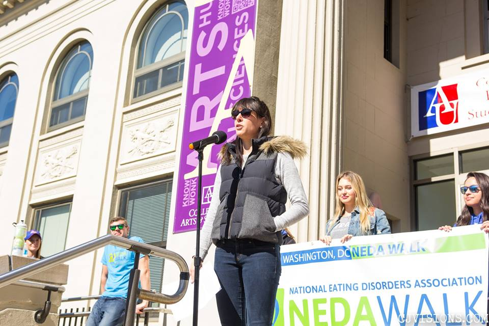 Joanna Marino, PhD giving a keynote speech at the DC NEDA walk!