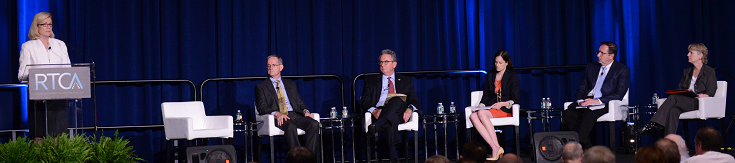 N.O.I.S.E Executive Director Dennis McGrann (center) participates in an expert panel alongside FAA Assistant Administrator, Carl Burleson (seated second from left) at the annual RTCA Global Aviation Symposium held in Washington, DC.