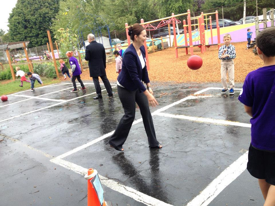 NWHF President Nichole Maher joins Grout Elementary students in a game of foursquare during a Playworks site visit.