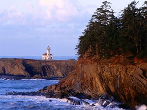 A lighthouse on the Oregon coast.