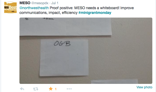 """Proof Positive: MESO needs a whiteboard! improve communications, impact, efficiency #minigrantmonday"""