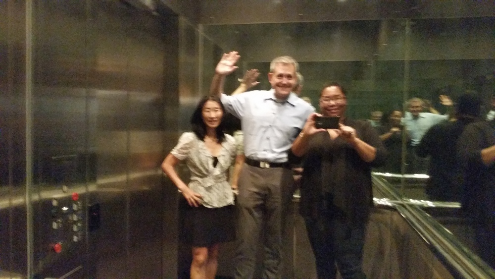Fannie, Suk and a stranger in an elevator.
