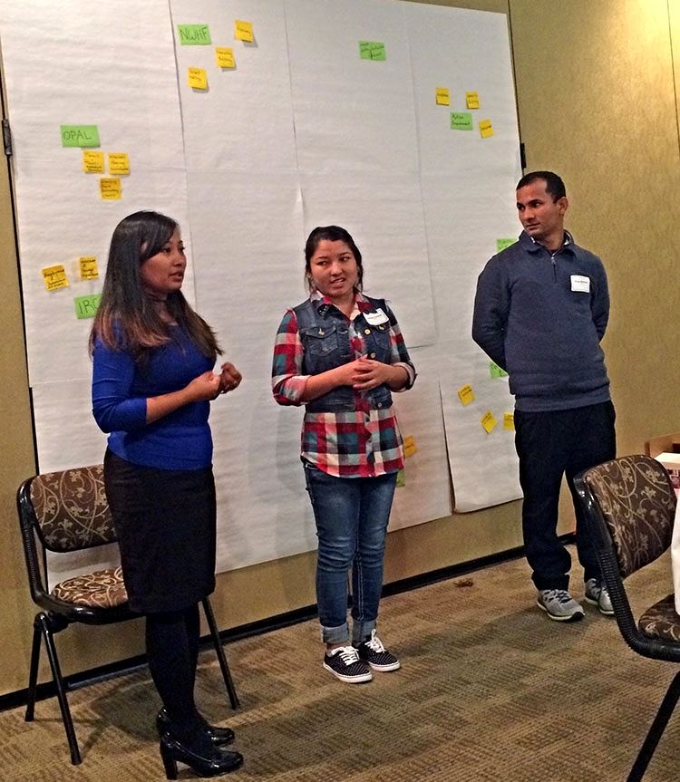 Deaf and hard of hearing Bhutanese refugees from Immigrant and Refugee Community Organization (IRCO) present some of their community's priorities.