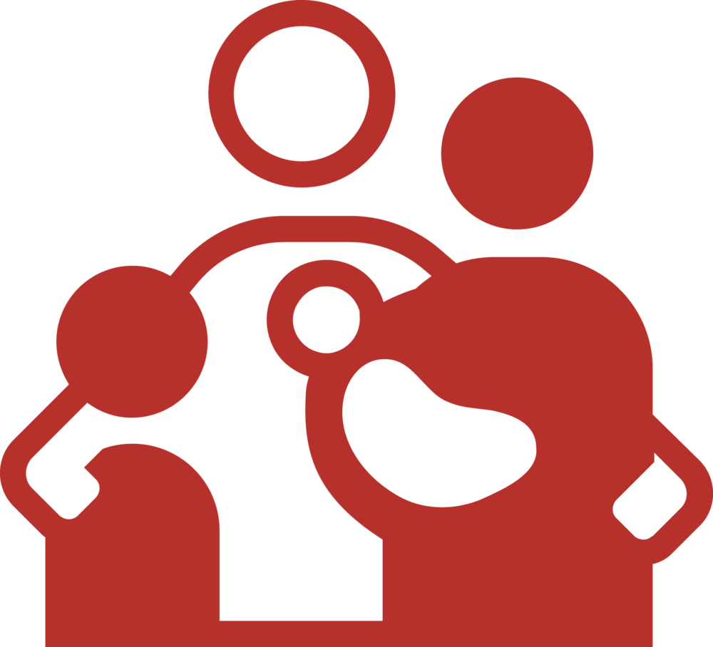 Abstract family with two adults, a child and a baby.