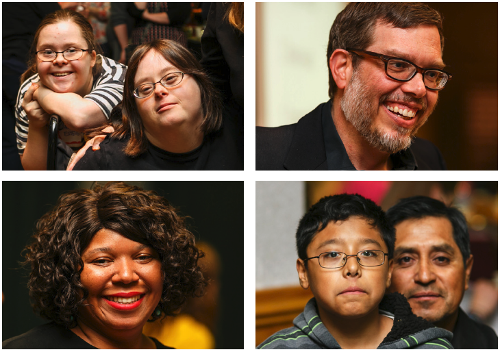 Top left: Two Young Adults with Down Syndrome smile. Both wear glasses. ONe sits in a wheelchair; The other leans on the back of the wheelchair.; Top Right: A person with glasses and a graying beard smiles.; Bottom Left: A person with short curly hair and red lipstick smiles.; Bottom Right: A child with glasses sits on their parent's lap.