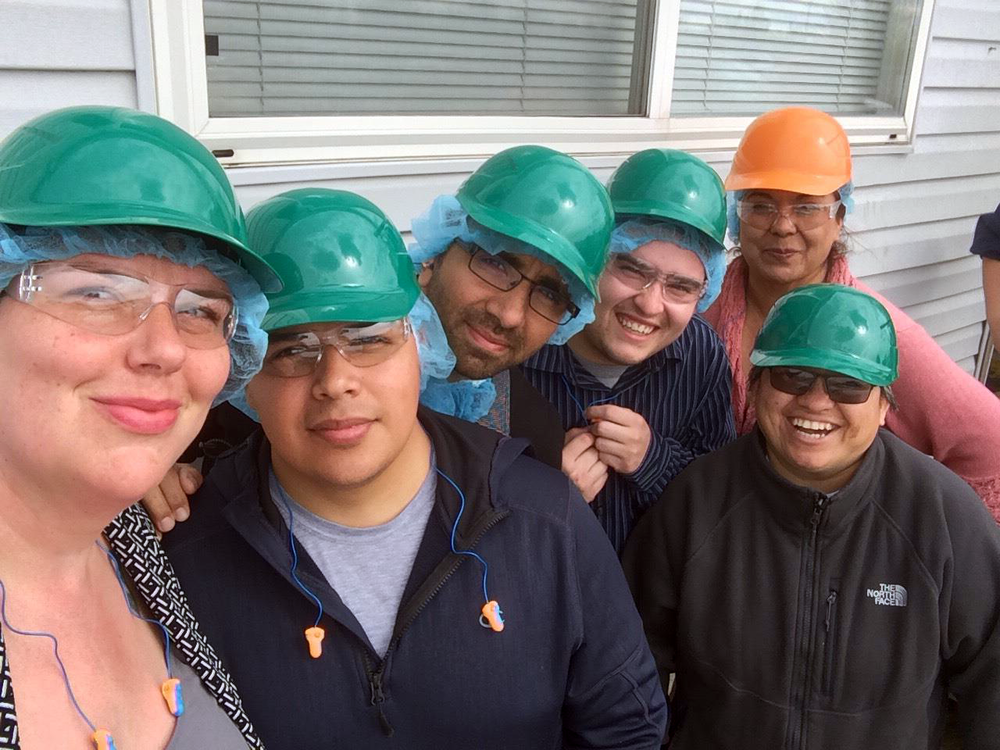 NWHF Director of Programs Jen Matheson and Community Engagement Officer Michael Reyes Andrillon visit an onion processing plant in Eastern Oregon with members of the nonprofit EUVALCREE.
