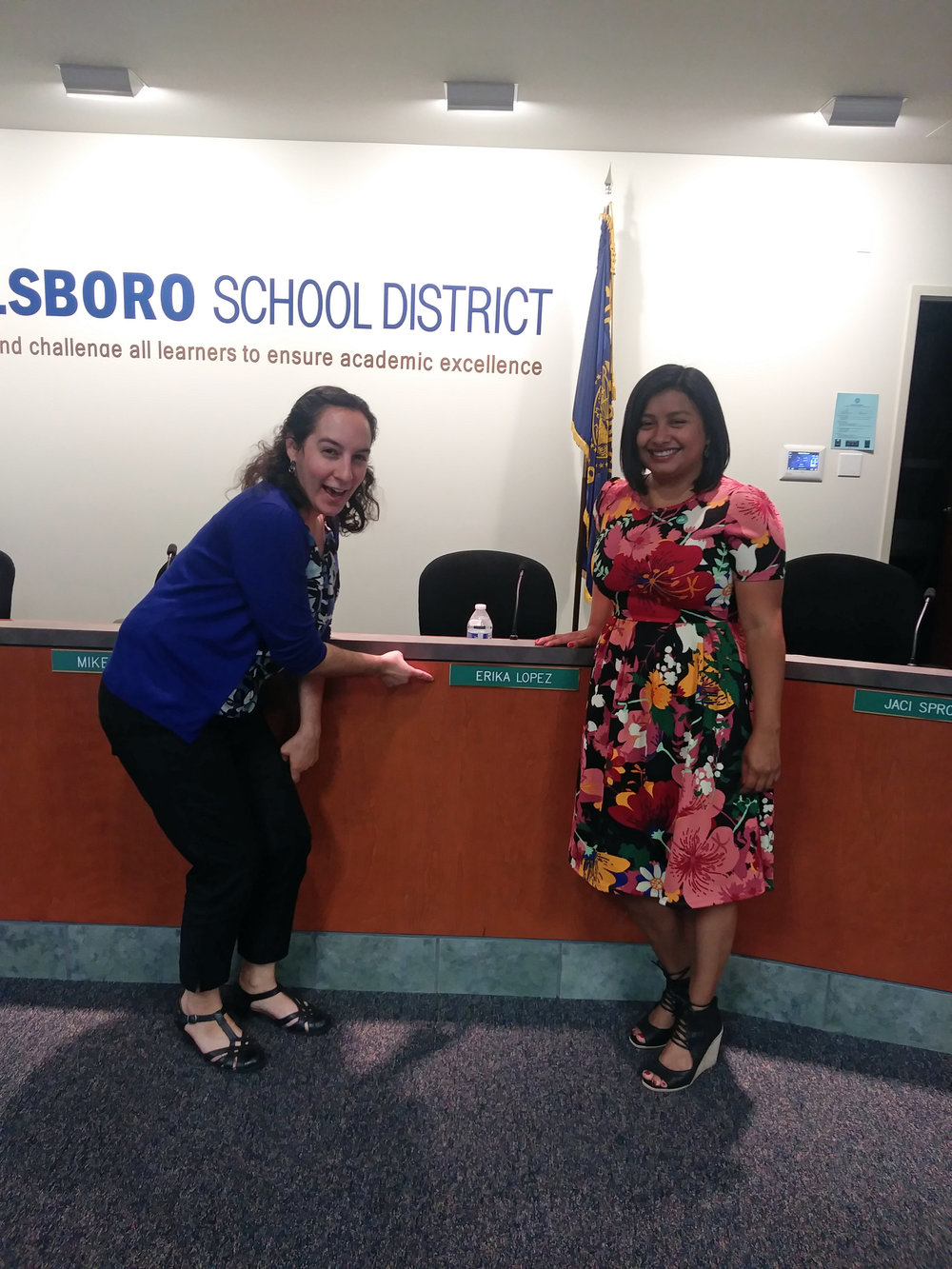 Felicita and Erika at Erika's swearing-in and first meeting as a Hillsboro School District board member.