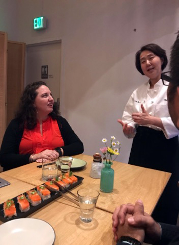 Chef Naoko describing the food at an NWHF board dinner at her restaurant Shizuku.
