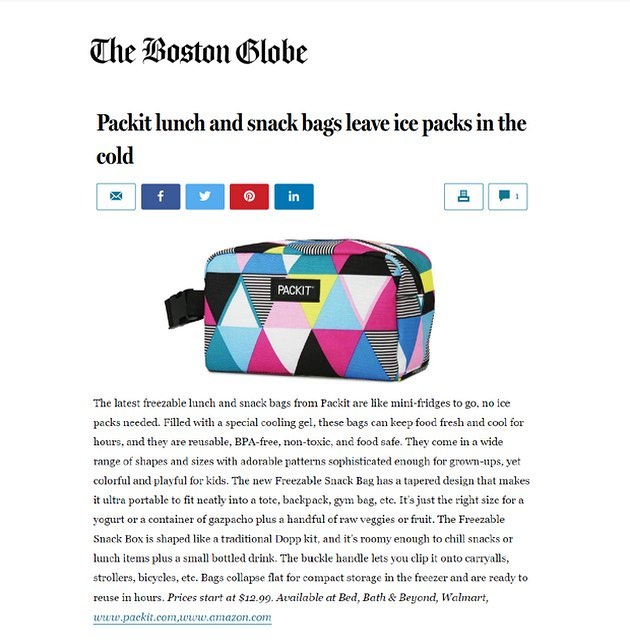Excited to see our client, @packitcool New Freezable Snack Bag and Snack Box featured in @bostonglobe . Compact and convenient, just in time for spring!  #Springing #AllNew #SnackBag #SnackBox #PackIt #NoIcePacksNeeded #AllNewPatterns #2019Patterns #Hiking #KeepCool #SnackOnTheGo