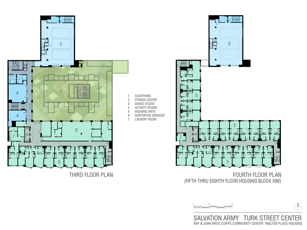 Third through Eighth floor plans
