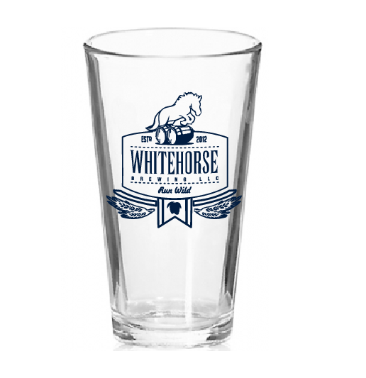 Whitehorse Pint Glass-  $ 5.00                                                                                                                                                                                                                            If you purchase a set of six you get one free (6 for $25.00)