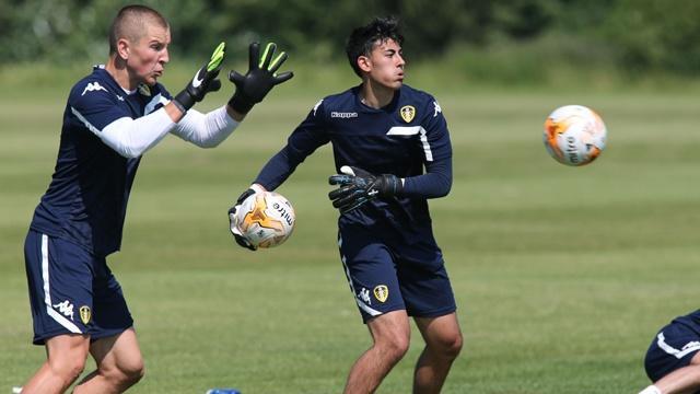 Charlie Horton (left) training with Leeds