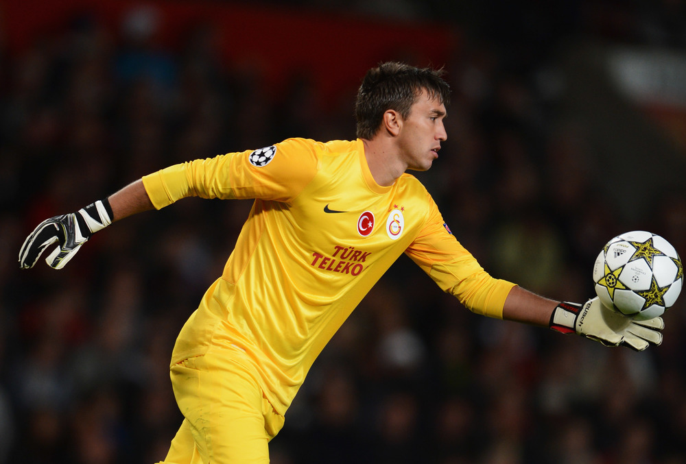 Muslera prepares himself to punt the ball very far