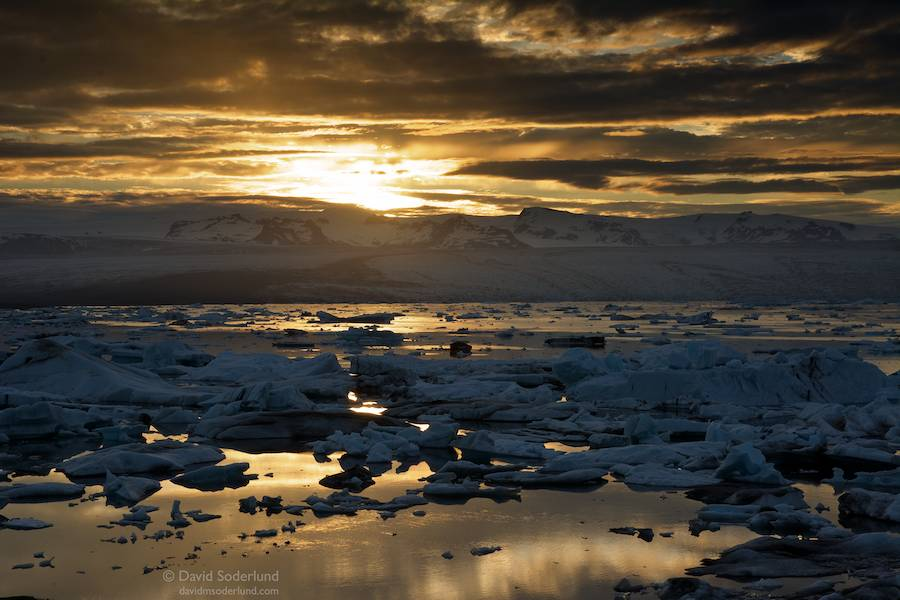 Midnight sun over Jokulsarlon.