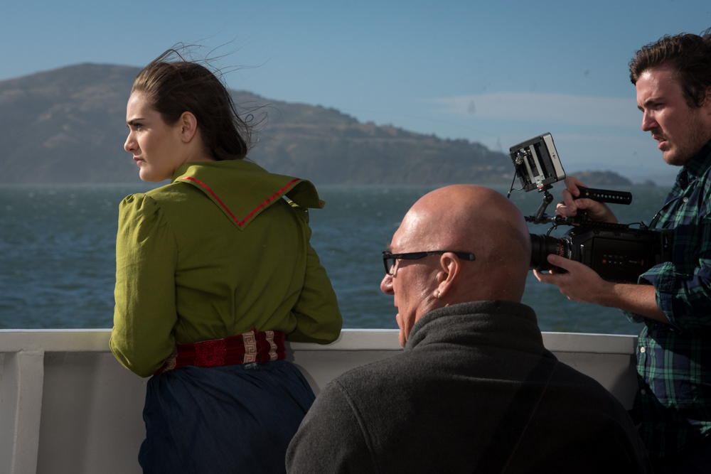 Director Charlie Otte and Director of Photography Greg Cotten record shots of Vireo (Rowen Sabala) approaching Alcatraz.