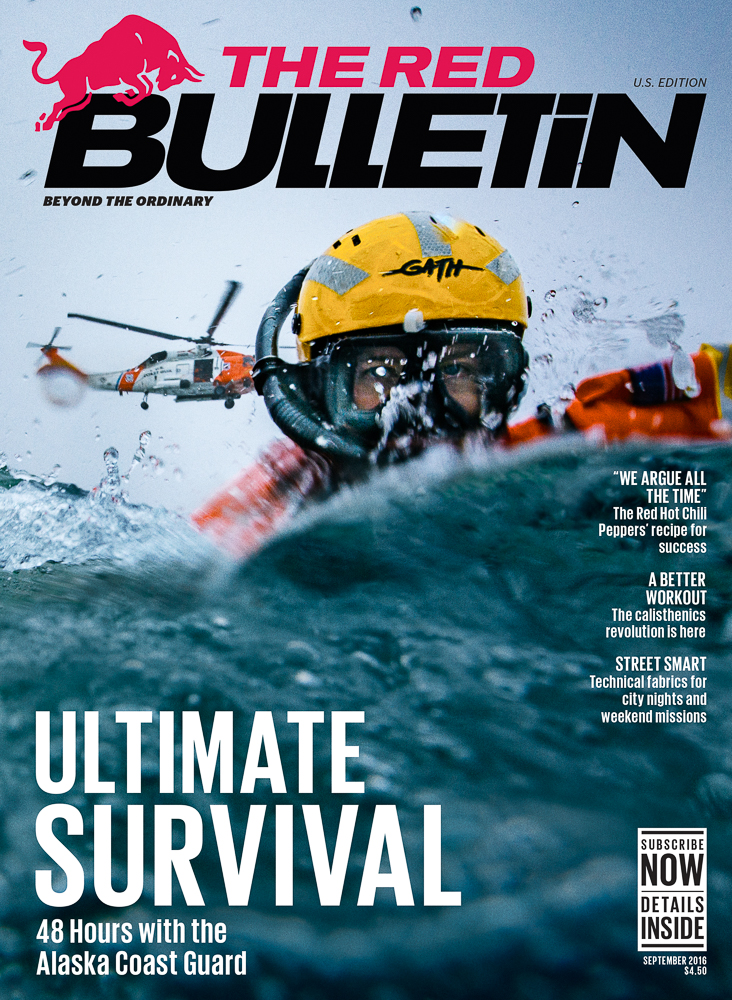 the united states coast guard rescue swimmers profiled for red bulls red bulletin magazine in the frigid waters off kodiak island alaska