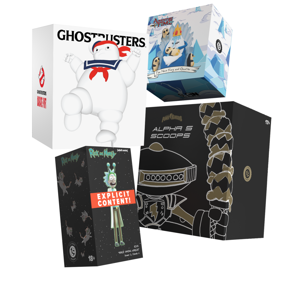 "Ghostbusters™ Karate Puft NYCC Exclusive, Adventure Time™ The ""Nice"" King, Rick and Morty™ Peace Among Worlds, and Saban's Power Rangers Alpha 5 Scoops."