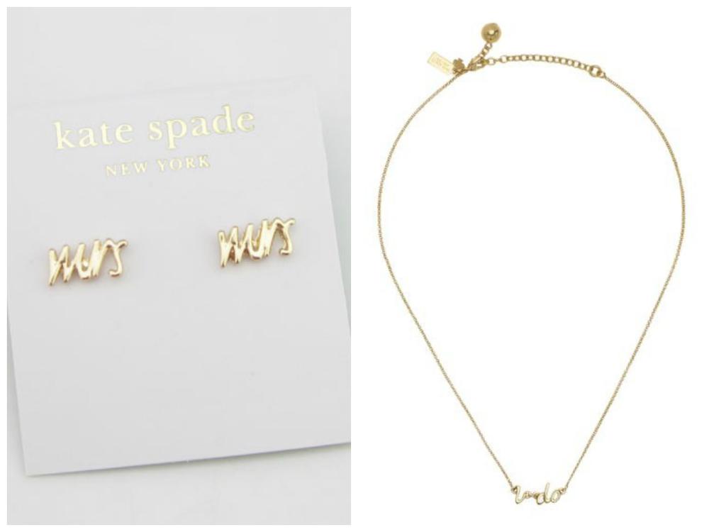 Kate Spade Mrs Earrings Necklace