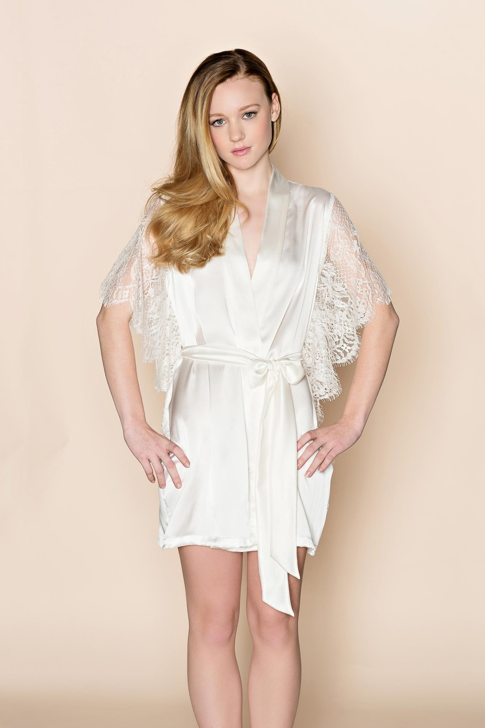 Grace Wedding Silk Kimono Robe With French Lace Sleeves In Off White