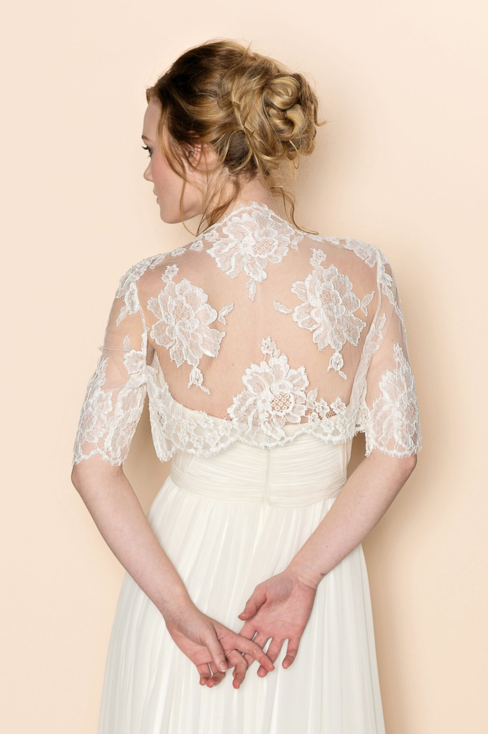 Roseline Bridal French Lace Tulle Bolero Cover Up Shrug In Off-White