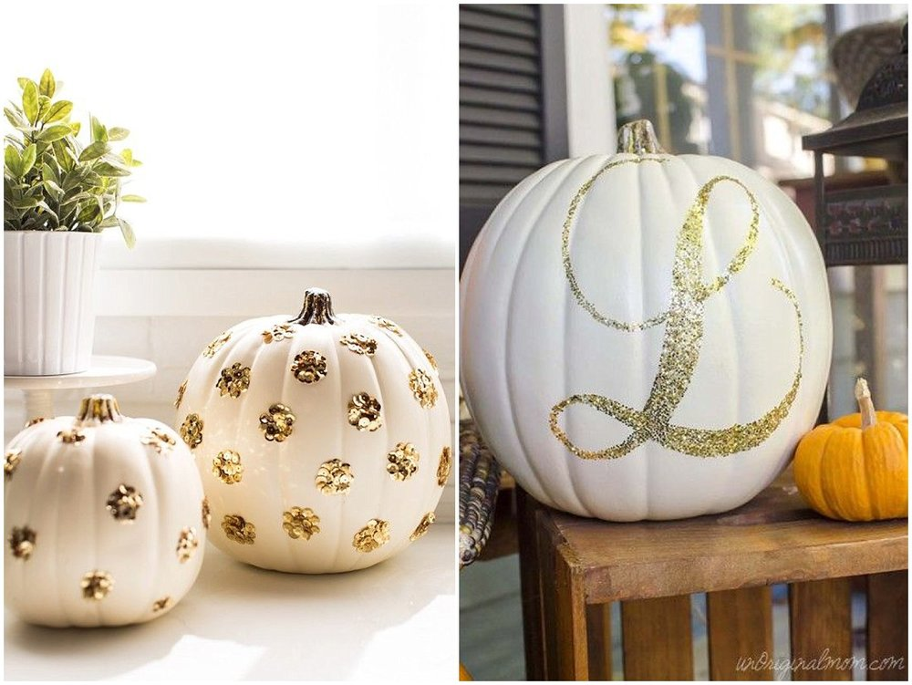 Sequin & Glitter No Carve DIY Pumpkins
